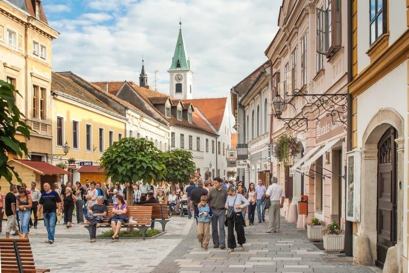 Mensen op de straten van Varazdin royalty-vrije stock fotografie