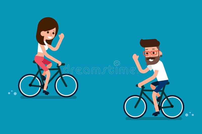 Mensen op fietsen vector illustratie