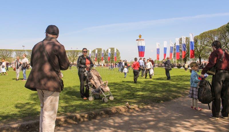 Mensen op het gazon met vlaggen stock foto's
