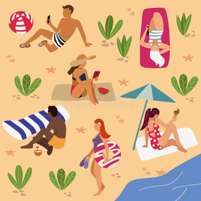 Mensen op het strand: zonnebadend, lezend boeken, het spreken, het lopen De zomertijd, toerisme Vlakke beeldverhaal vectorillustr royalty-vrije illustratie