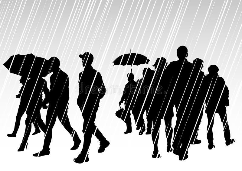 Mensen op regen stock illustratie