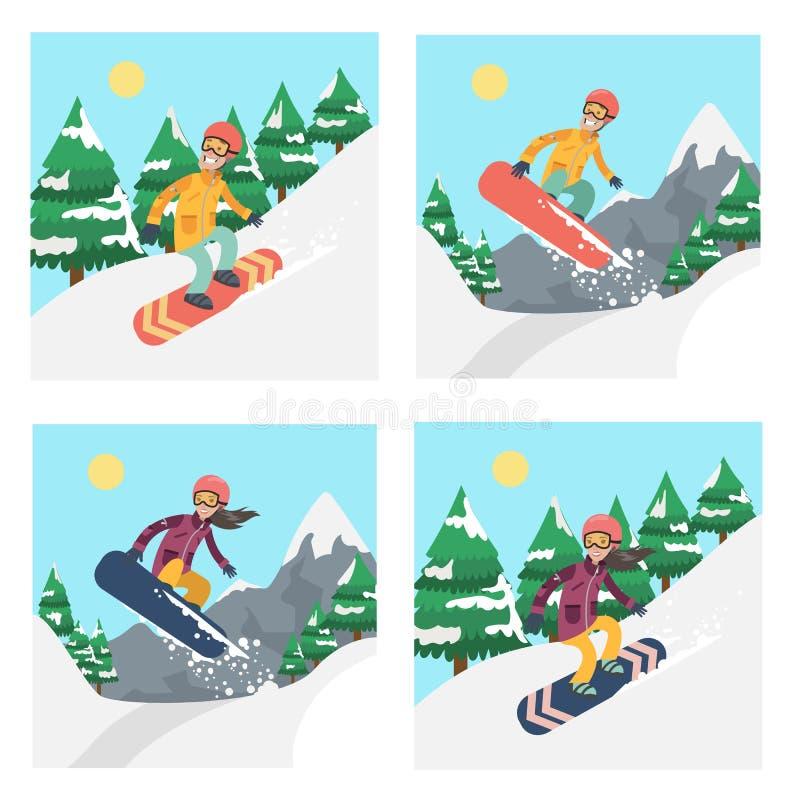 Mensen op snowboardreeks stock illustratie