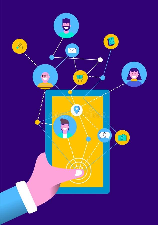 Mensen op sociale media online mobiele telefoon app stock illustratie