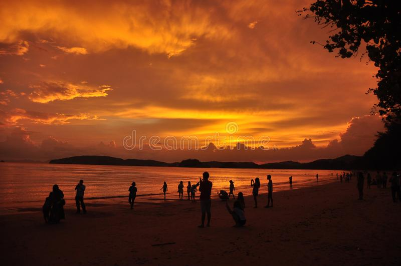 Mensen op zandige kust in zonsondergang, Silhouetten van mensen die tijd doorbrengen aan tropische kustlijn met gouden heldere he stock foto