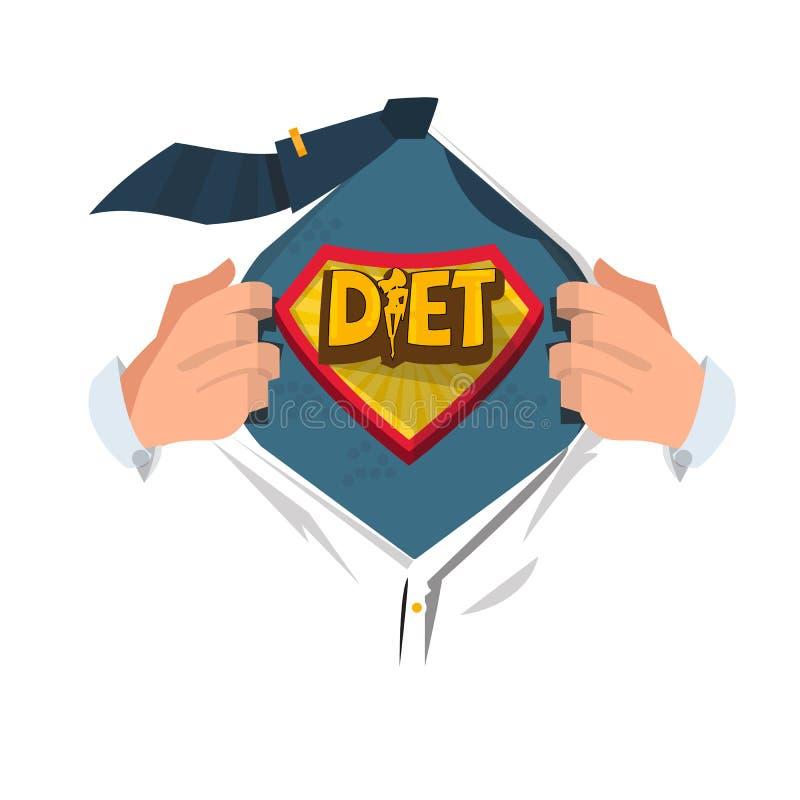 Mensen open overhemd om `-Dieet` symbool in heldenstijl te tonen logotype Het concept van de gezondheidszorg stock illustratie