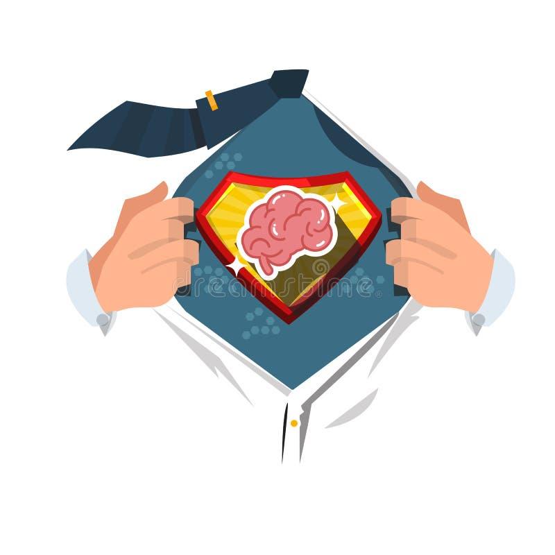 Mensen open overhemd om hersenen in grappige stijl te tonen super slim concept - vector royalty-vrije illustratie