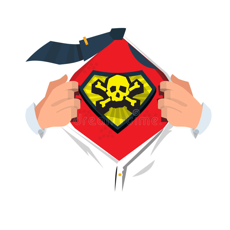 Mensen open overhemd om schedel en beensymbool in heldenstijl te tonen Symbool van doodsconcept mens van dood - vectorillustratie royalty-vrije illustratie