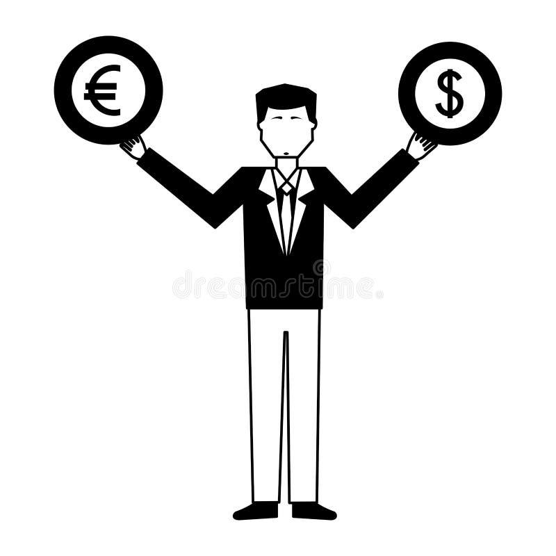 Mensen opheffende euro en dollar royalty-vrije illustratie