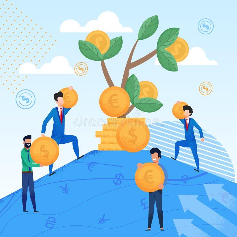 Mensen in Pakken Carry Gold Coins aan Boom stock illustratie