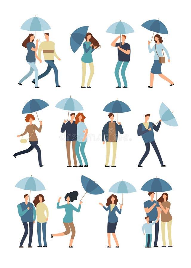 Mensen paraplu houden, lopen openlucht in de regenachtige lente of dalingsdag die Man, vrouw in regenjas onder vlakke regenvector vector illustratie