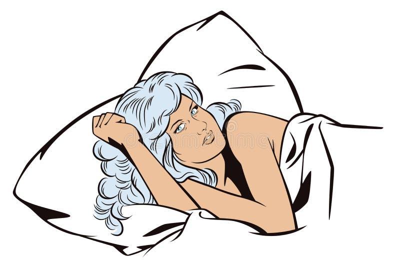 Mensen in retro stijl Meisje in bed stock illustratie