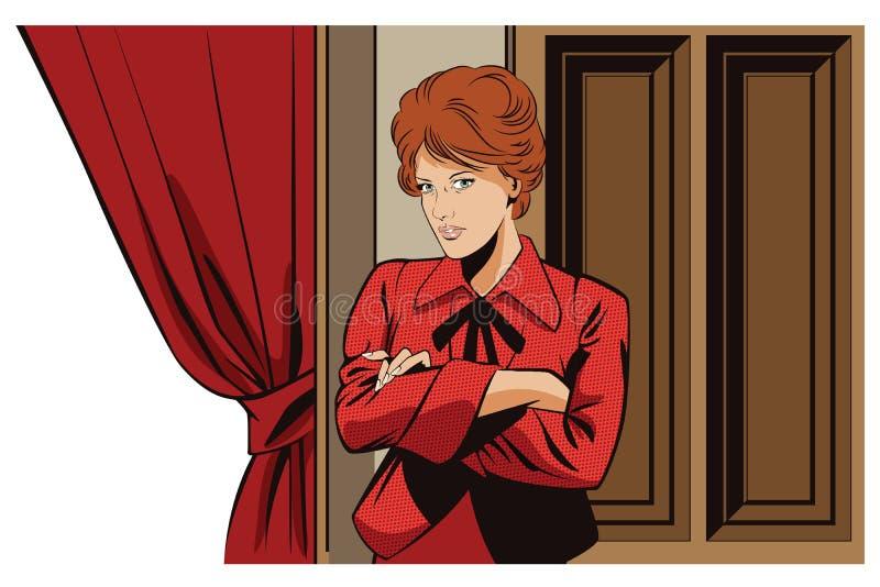 Mensen retro stijl Meisje dichtbij gordijnen in theater stock illustratie