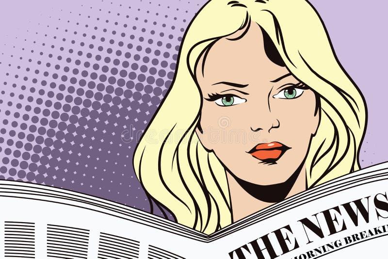 Mensen in retro stijl Meisje die de krant lezen royalty-vrije illustratie