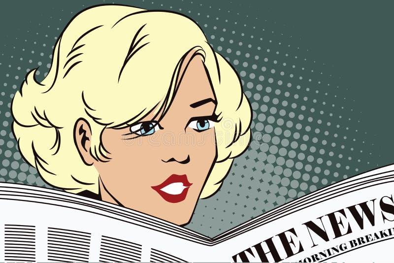 Mensen in retro stijl Meisje die de krant lezen stock illustratie