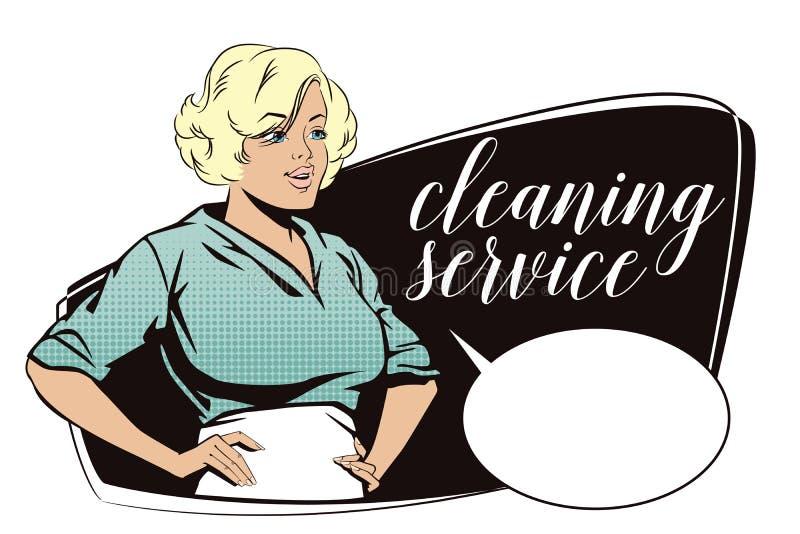 Mensen in retro stijl Meisje van de schoonmakende dienst stock illustratie
