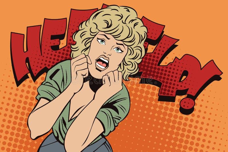 Mensen in retro stijl popart Meisjesschreeuwen in vrees stock illustratie