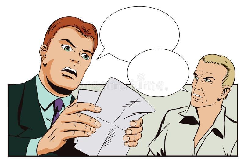 Mensen in retro stijl Verbaasde mens die een brief lezen vector illustratie