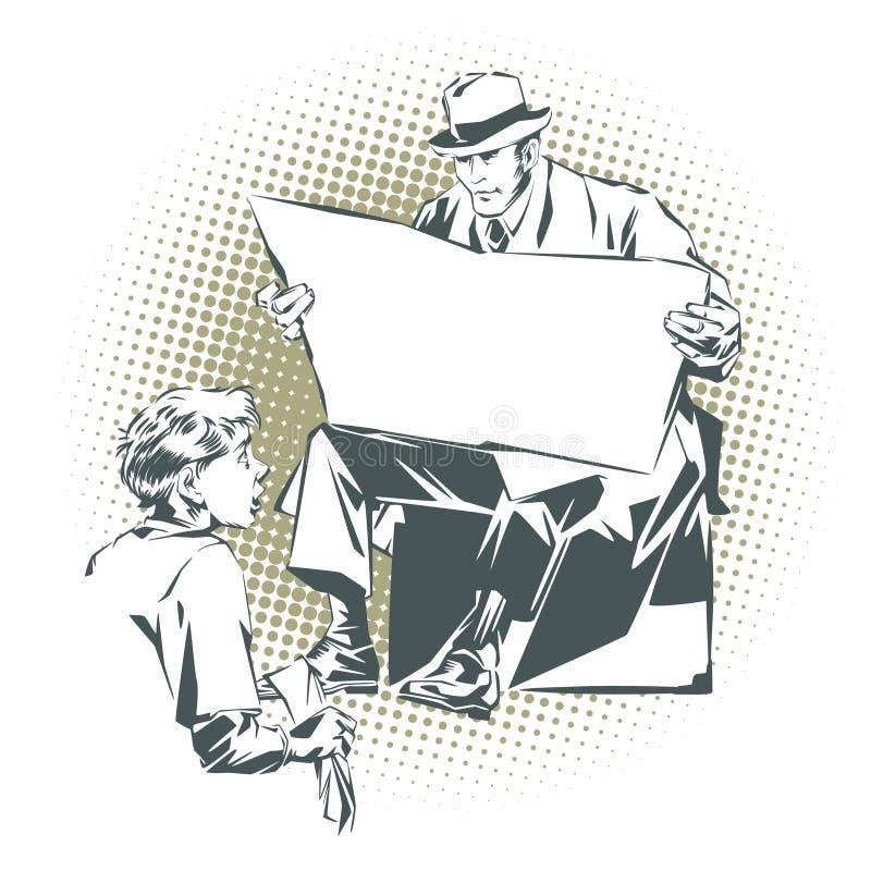 Mensen in retro stijlpop-art en uitstekende reclame De jongen maakt de laarzenmens met een krant schoon Krant voor uw tekst royalty-vrije illustratie