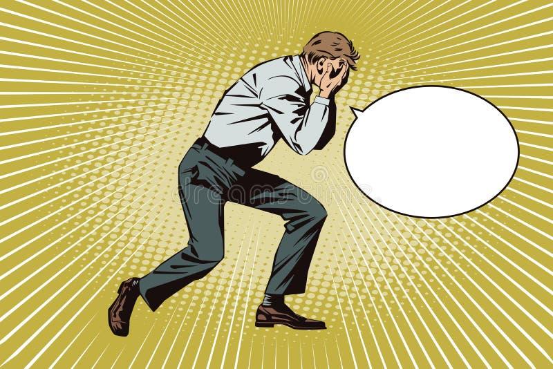 Mensen in retro stijlpop-art en uitstekende reclame De verstoorde mens behandelt zijn gezicht met zijn handen stock illustratie