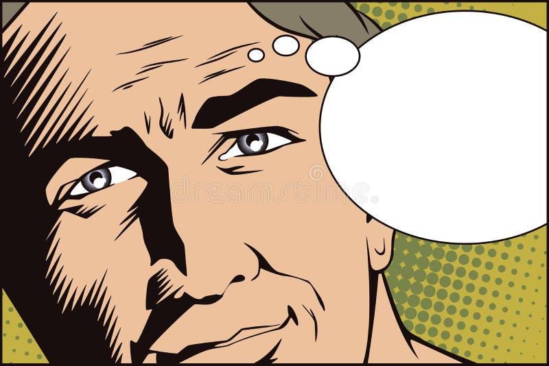Mensen in retro stijlpop-art en uitstekende reclame Man gezicht royalty-vrije illustratie
