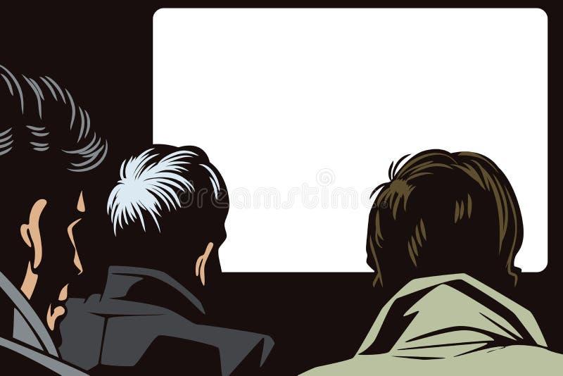 Mensen in retro stijlpop-art en uitstekende reclame Mensen in de bioskoop royalty-vrije illustratie