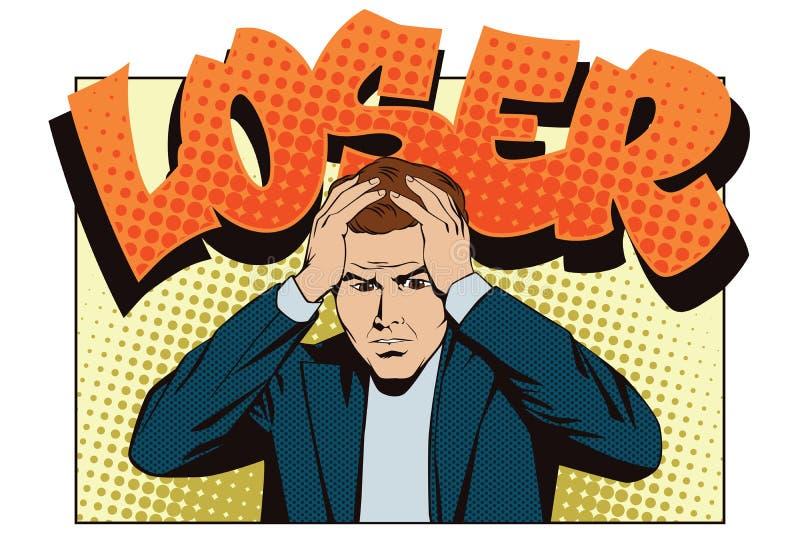 Mensen in retro stijlpop-art en uitstekende reclame Verstoorde mens die zijn hoofd clutching verliezer stock illustratie