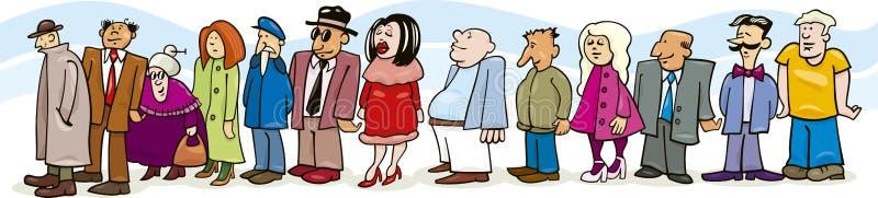 Mensen in rij royalty-vrije illustratie