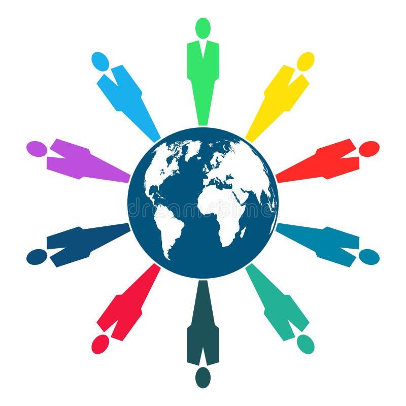 Mensen rond de bol, Groep die van tien personen in cirkel, handen houden De toparbeiders komen in dezelfde machtsruimte samen stock illustratie