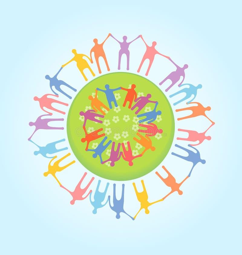 Mensen rond de handen van de wereldholding. Eenheidsconce vector illustratie