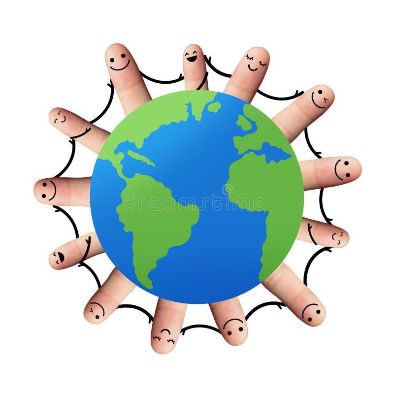 Mensen rond de handen van de wereldholding, met het knippen van pa worden geïsoleerd die stock foto's