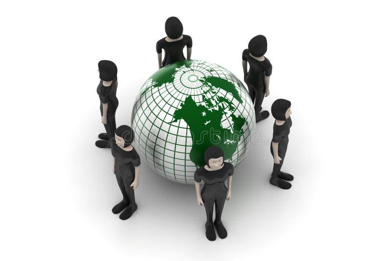 Mensen rond een bol die sociaal voorzien van een netwerk vertegenwoordigt royalty-vrije illustratie
