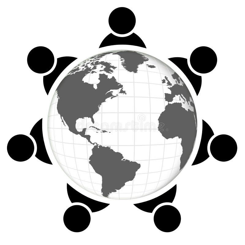 Mensen rond wereld royalty-vrije illustratie