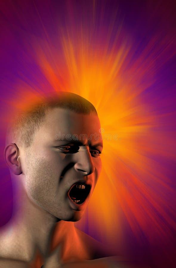 Mensen` s gezicht dat, op de achtergrond een explosie gilt vector illustratie