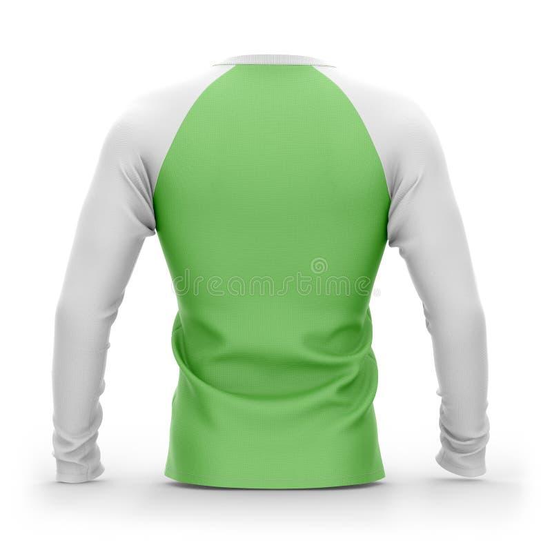 Mensen` s groene t-shirt met lange witte raglan kokers royalty-vrije illustratie
