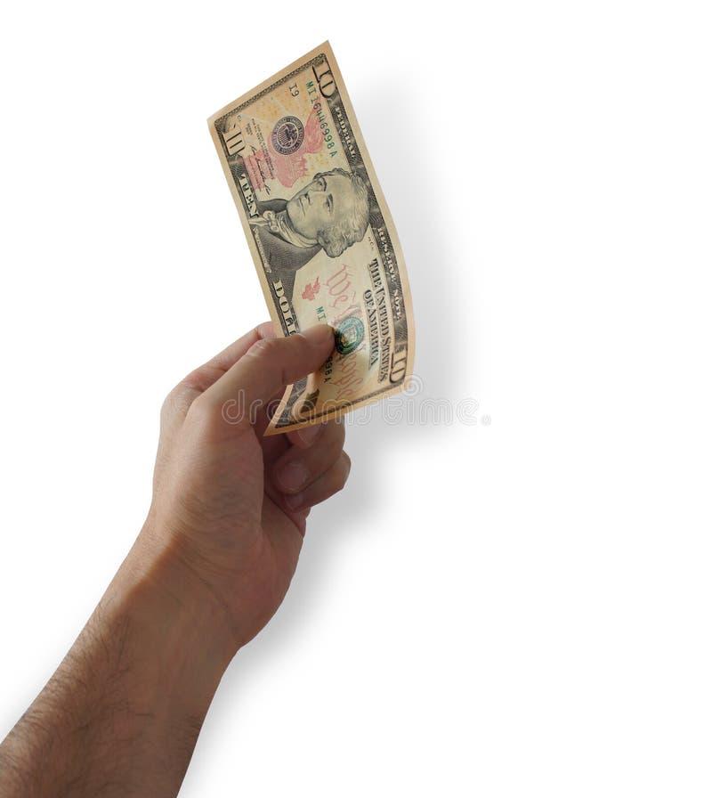 Mensen` s hand die een 10 dollarrekening op witte achtergrond houden royalty-vrije stock foto's