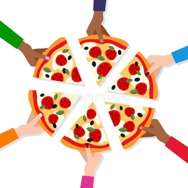 Mensen` s Handen die Plakken van Pizza nemen vector illustratie