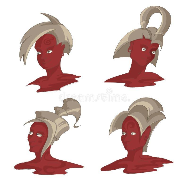 Mensen` s hoofden met fantastische kapsels stock illustratie