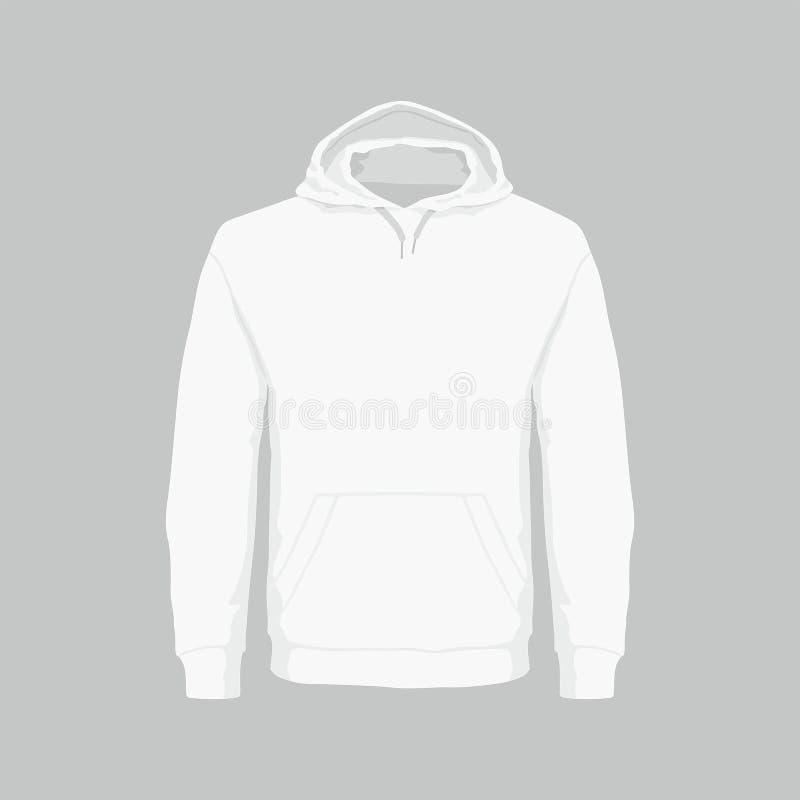 Mensen` s wit sweatshirt met een kap vector illustratie