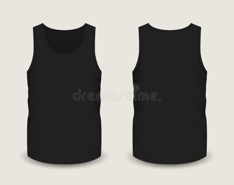 Mensen` s zwarte sleeveless tank in voor en achtermeningen Vectorillustratie met realistisch mannelijk overhemdsmalplaatje stock illustratie