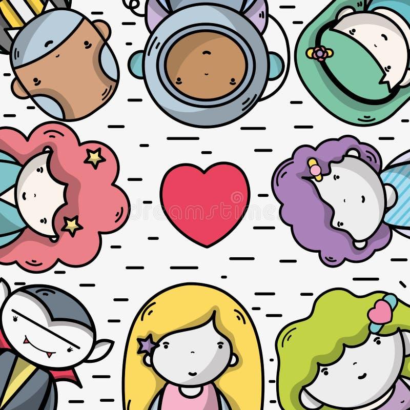 Mensen samen aan kawaiiavatar pictogram stock illustratie