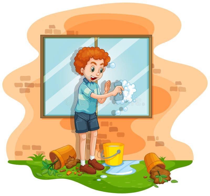 Mensen schoonmakend venster thuis stock illustratie