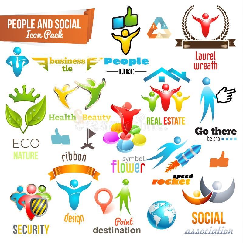 Mensen Sociaal Communautair 3d pictogram en Symboolpak vector illustratie