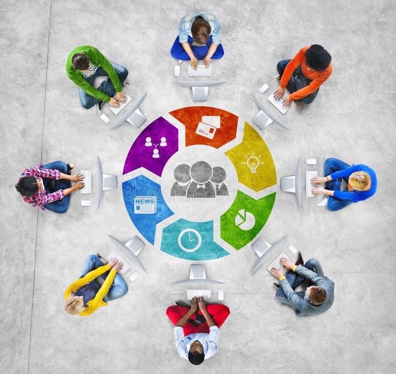 Mensen Sociaal Voorzien van een netwerk en Bedrijfsconcept royalty-vrije stock afbeelding