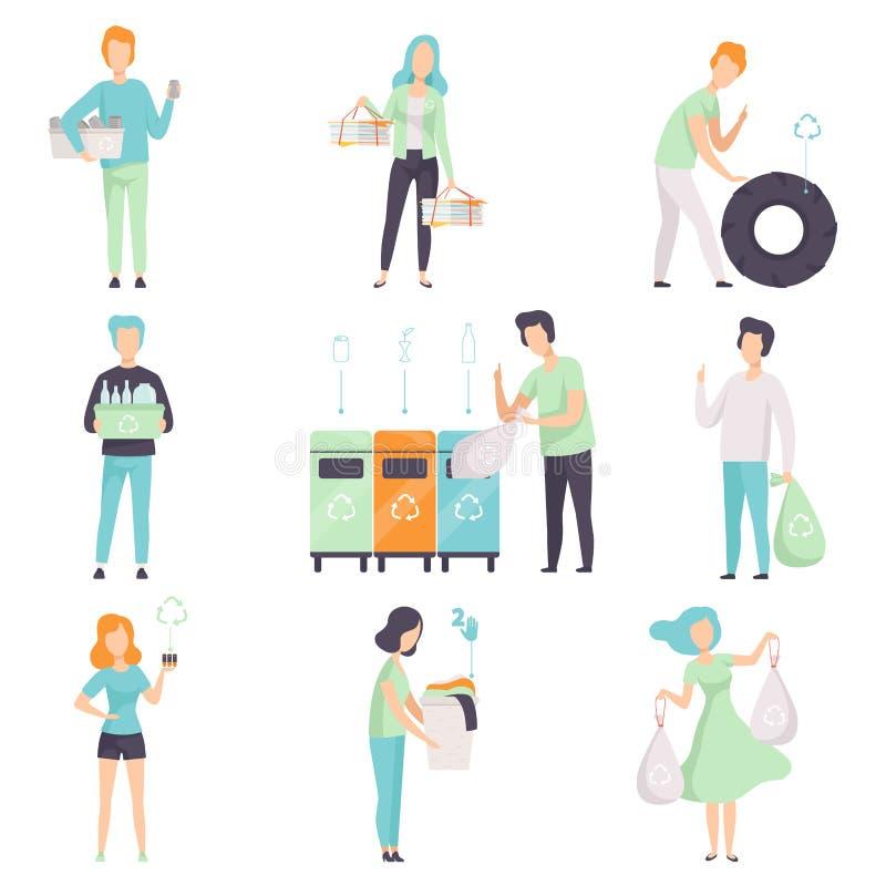 Mensen, sorterend afval die voor recyclerende vastgestelde, jonge mannen en vrouwen die plastiek, glas, rubber, organisch documen royalty-vrije illustratie
