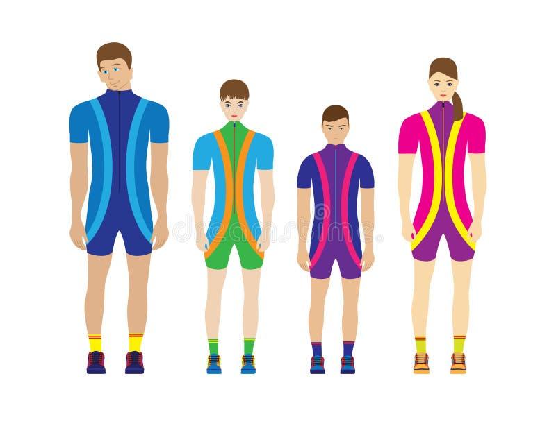 Mensen in sportkleding stock illustratie