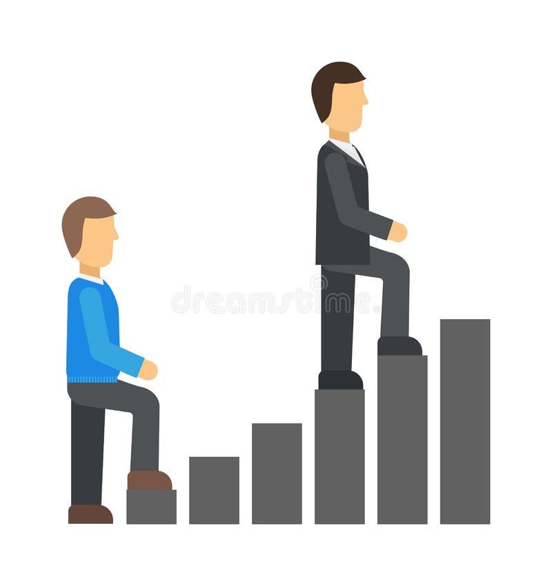 Mensen start van het commerciële team gaan de werkende concept de mensen van het tredensucces werken uit vectorillustratie vector illustratie