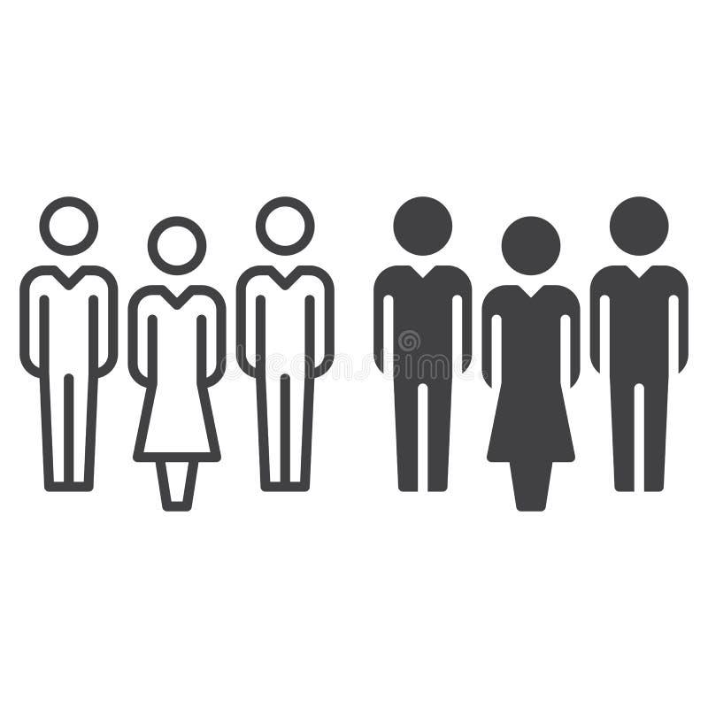 Mensen, teamlijn en stevig pictogram, overzicht en gevuld vectorteken, lineair en volledig die pictogram op wit worden geïsoleerd royalty-vrije illustratie
