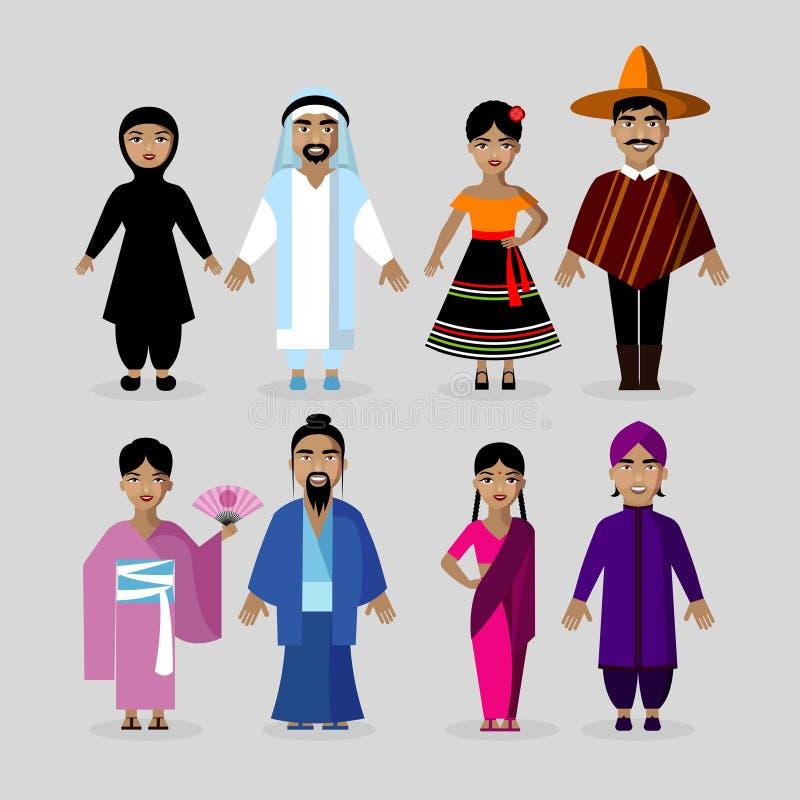 Mensen in traditionele kostuums Mexico, Japan, India, Midden-Oosten stock illustratie