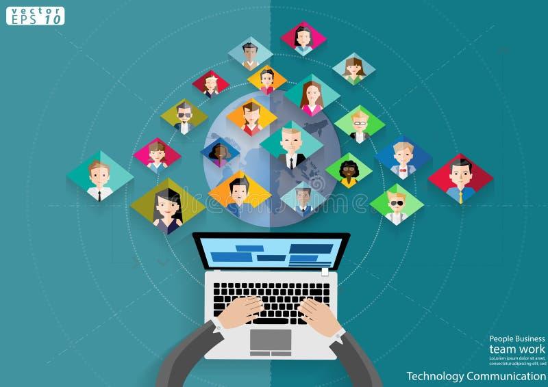 Mensen van het Commerciële de Technologiemededeling teamwerk over wereld modern Idee en Concepten Vectorillustratie met Tablet royalty-vrije illustratie