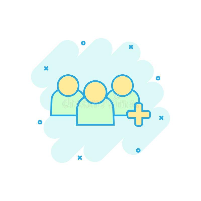 Mensen van het communicatie het pictogram gebruikersprofiel in grappige stijl Mensen met de illustratiepictogram van het plusteke royalty-vrije illustratie